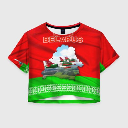Женская футболка Crop-top 3D Belarus 16
