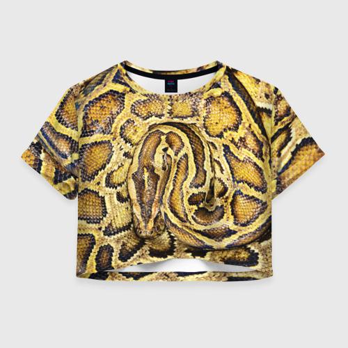 Женская футболка Crop-top 3D Змея