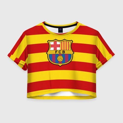 Женская футболка Crop-top 3D Барселона (каталония)
