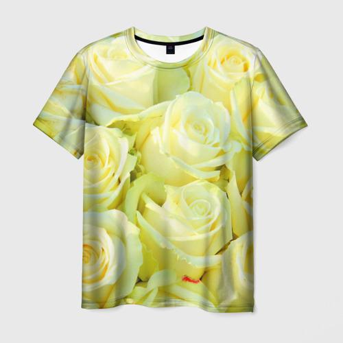 Мужская футболка 3D Белые розы
