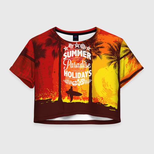 Женская футболка Crop-top 3D Summer Surf 2