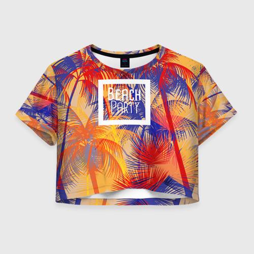 Женская футболка Crop-top 3D Beach Party