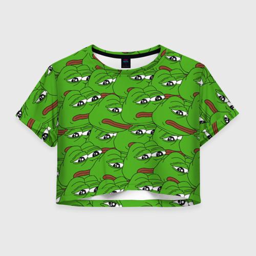 Женская футболка Crop-top 3D Sad frogs