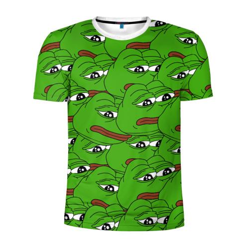 Мужская футболка 3D спортивная Sad frogs
