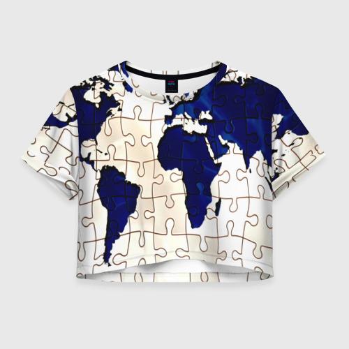Женская футболка Crop-top 3D Мир