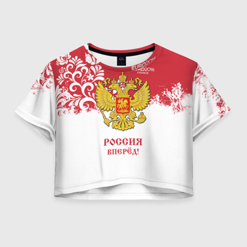Женская футболка Crop-top 3D Euro 2016 (Russia)