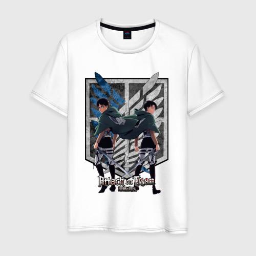 Мужская футболка хлопок Attack on Titan -  Levi & Eren
