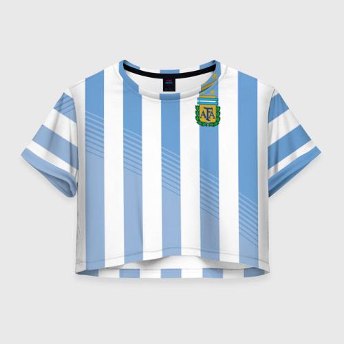 Женская футболка Crop-top 3D Сборная Аргентины по футболу