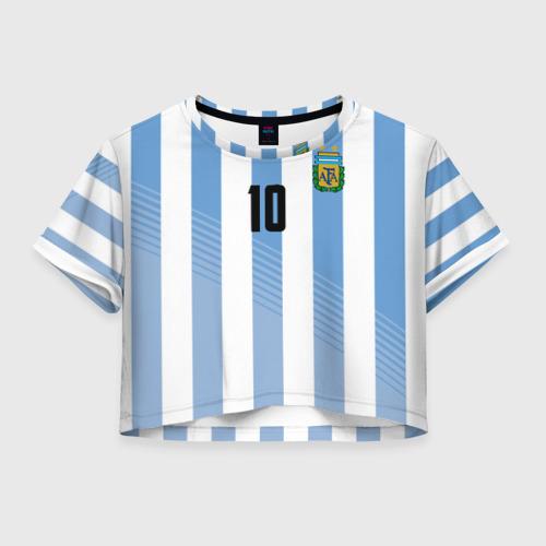 Женская футболка Crop-top 3D Месси (сборная Аргентины)