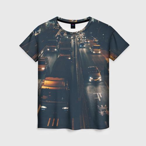 Женская футболка 3D дорога
