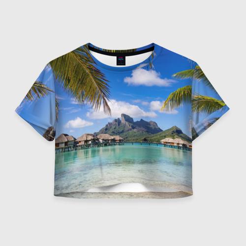 Женская футболка Crop-top 3D Бора-Бора