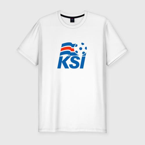 Мужская футболка хлопок Slim Сборная Исландии по футболу