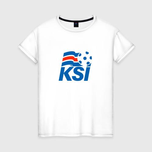 Женская футболка хлопок Сборная Исландии по футболу