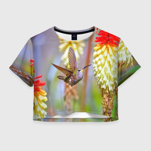 Женская футболка Crop-top 3D Колибри