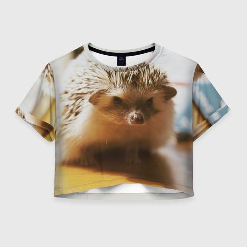 Женская футболка Crop-top 3D Ежик 4