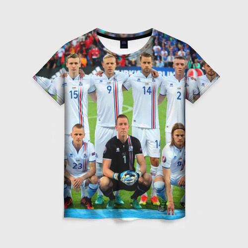 Женская футболка 3D Сборная Исландии по футболу