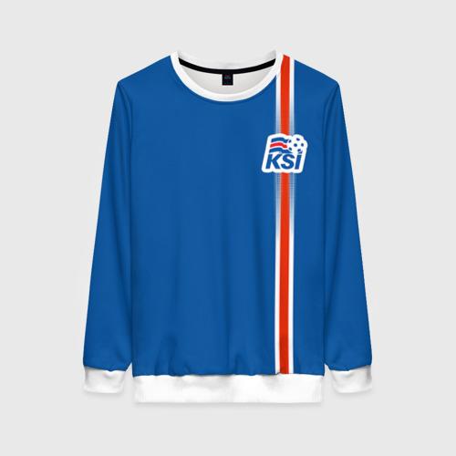 Женский свитшот 3D Форма сборной Исландии по футболу