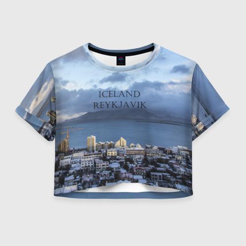 Женская футболка Crop-top 3D Исландия Рейкявик