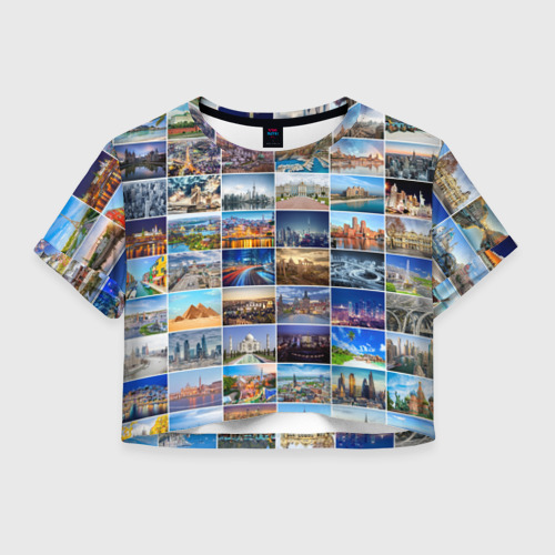 Женская футболка Crop-top 3D Туризм (10х10)