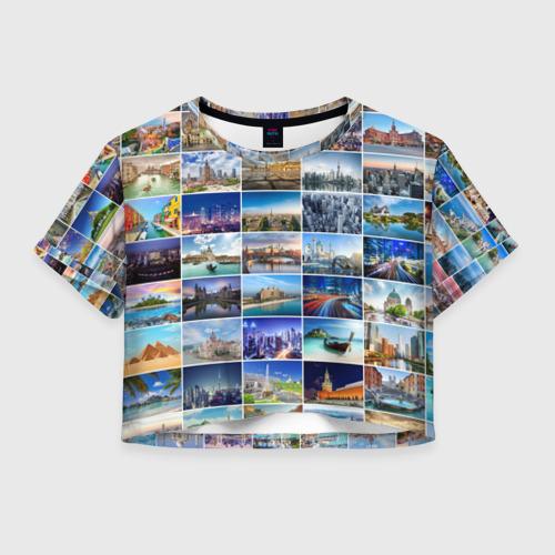 Женская футболка Crop-top 3D Страны мира (9х9)
