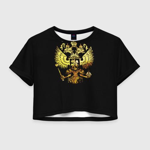 Женская футболка Crop-top 3D Герб России (Art)