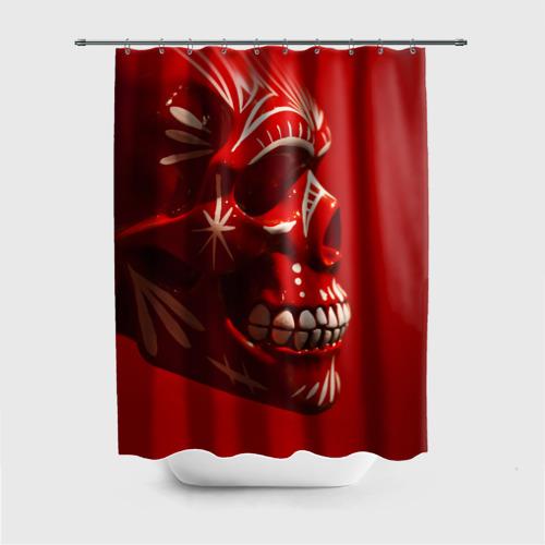 Штора 3D для ванной Красный череп