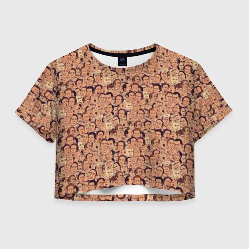 Женская футболка Crop-top 3D Николас Кейдж