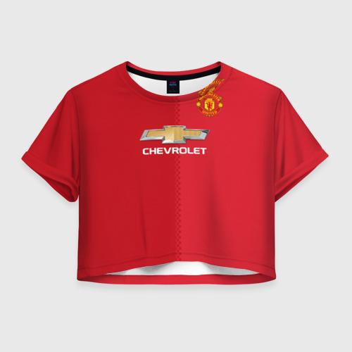 Женская футболка Crop-top 3D Манчестер Юнайтед форма