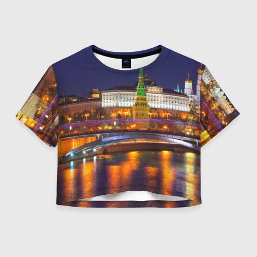 Женская футболка Crop-top 3D Москва (Кремль)
