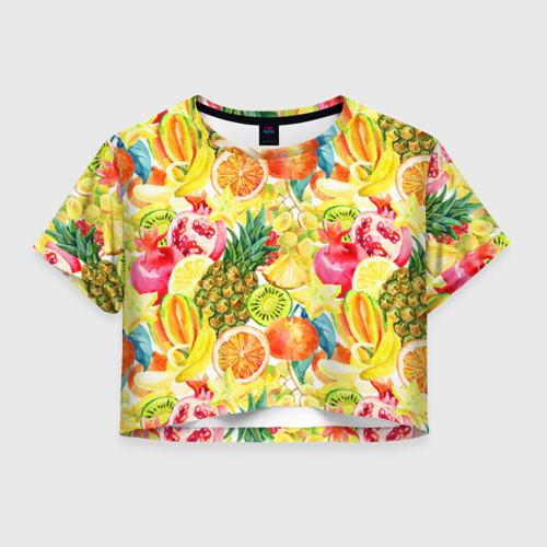 Женская футболка Crop-top 3D Веселые фрукты 1