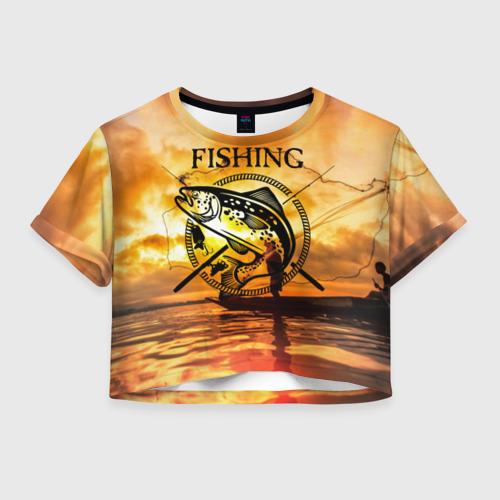 Женская футболка Crop-top 3D Рыбалка