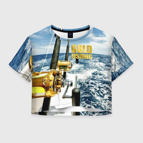Женская футболка Crop-top 3D Золотая рыбалка