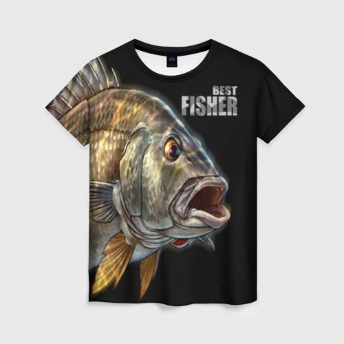 Женская футболка 3D Лучший рыбак