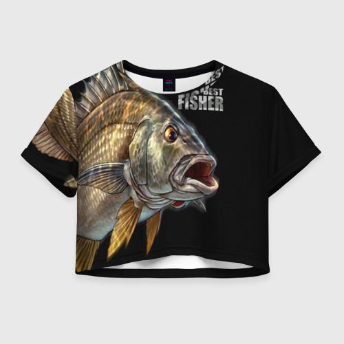 Женская футболка Crop-top 3D Лучший рыбак