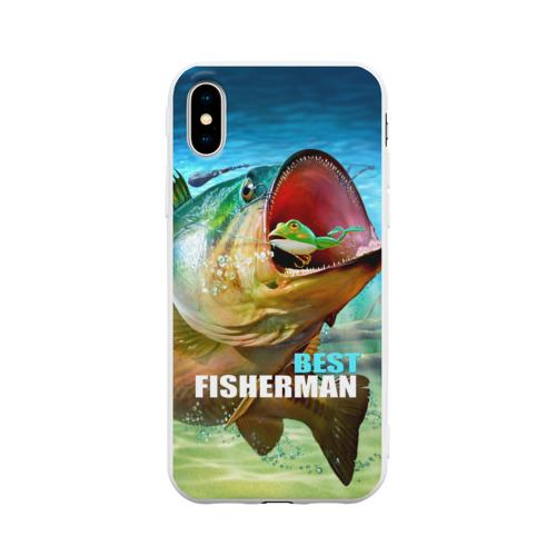 Чехол для iPhone X матовый Лучший рыбак