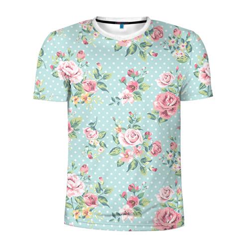 Мужская футболка 3D спортивная Цветы ретро 1