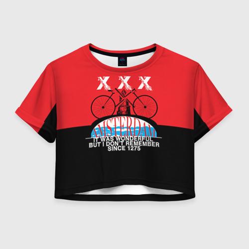 Женская футболка Crop-top 3D Amsterdam t-shirt