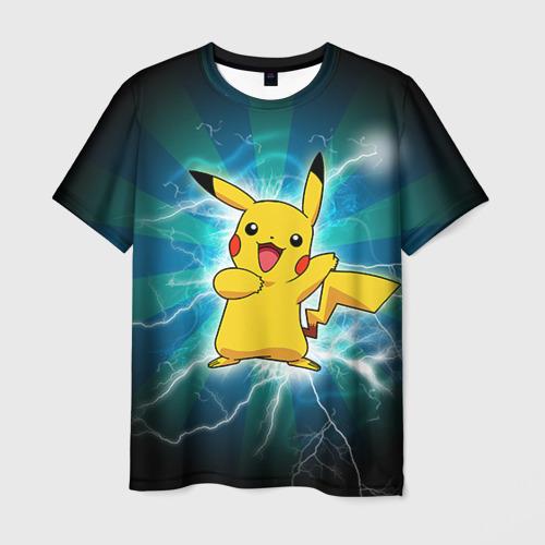 Мужская футболка 3D Искрящийся Пикачу