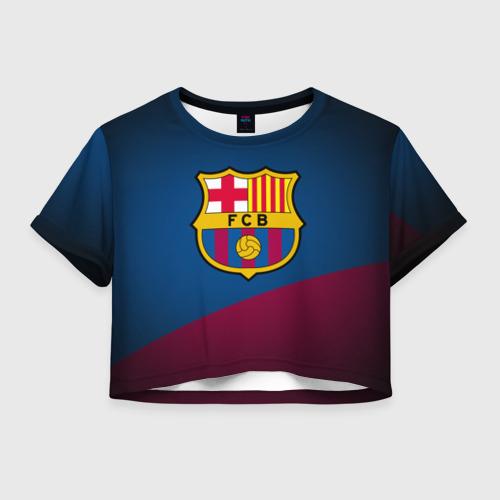 Женская футболка Crop-top 3D ФК Барселона