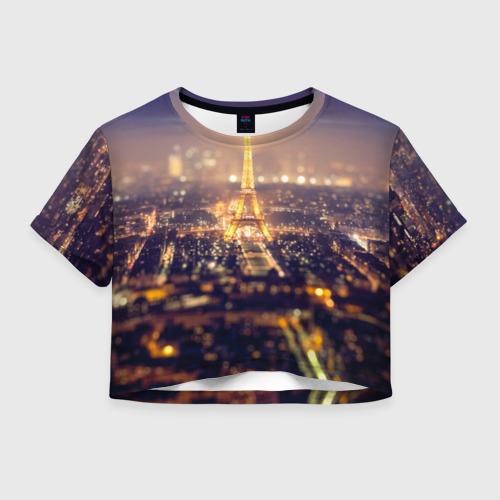 Женская футболка Crop-top 3D Эйфелева башня
