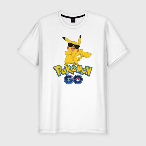 Мужская футболка хлопок Slim Pokemon GO
