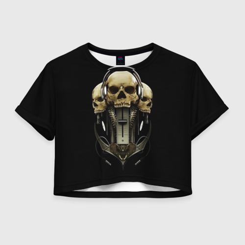 Женская футболка Crop-top 3D DJ череп