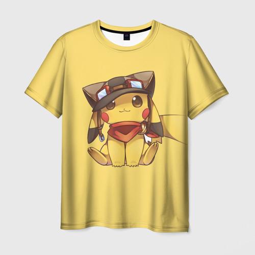 Мужская футболка 3D Пикачу в шапочке