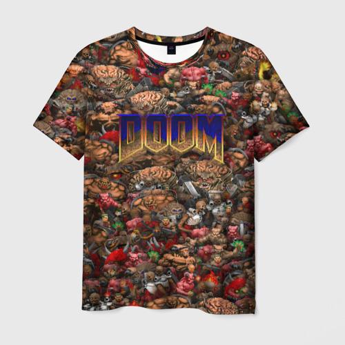 Мужская футболка 3D Doom. Все монстры (pixel art)