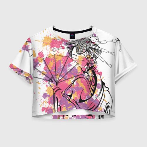 Женская футболка Crop-top 3D Гейша