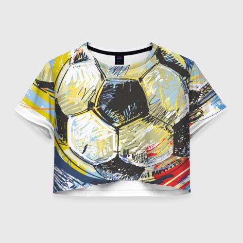 Женская футболка Crop-top 3D Рисованный футбольный мяч