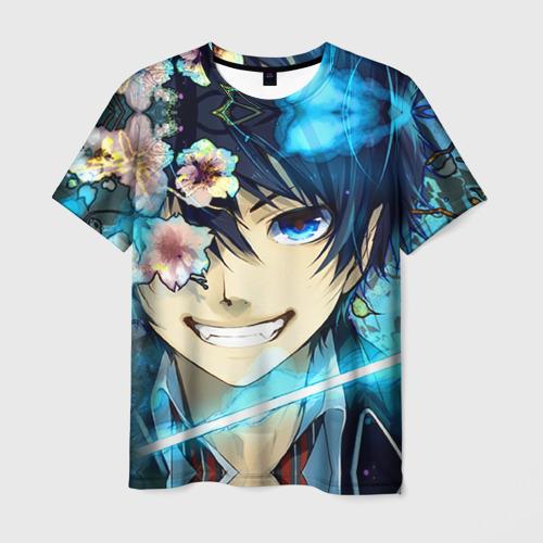 Мужская футболка 3D Blue Exorcist flowers
