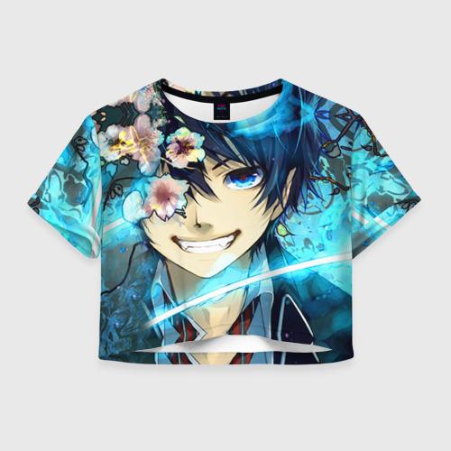 Женская футболка Crop-top 3D Blue Exorcist flowers