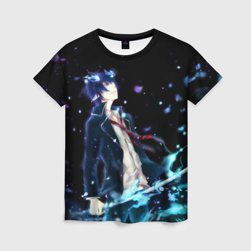 Женская футболка 3D Blue Exorcist profil