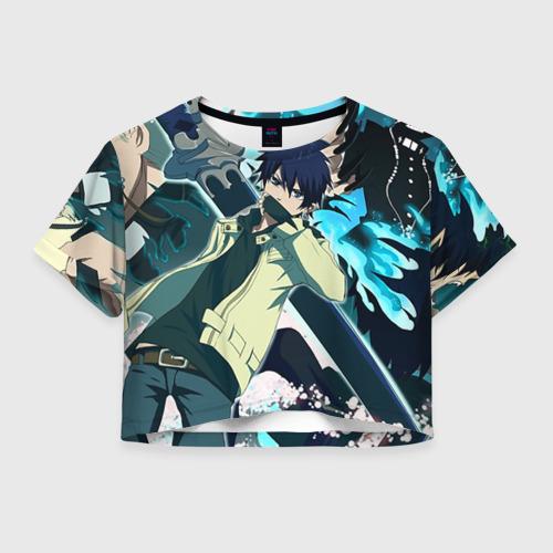 Женская футболка Crop-top 3D Синий экзорцист персы